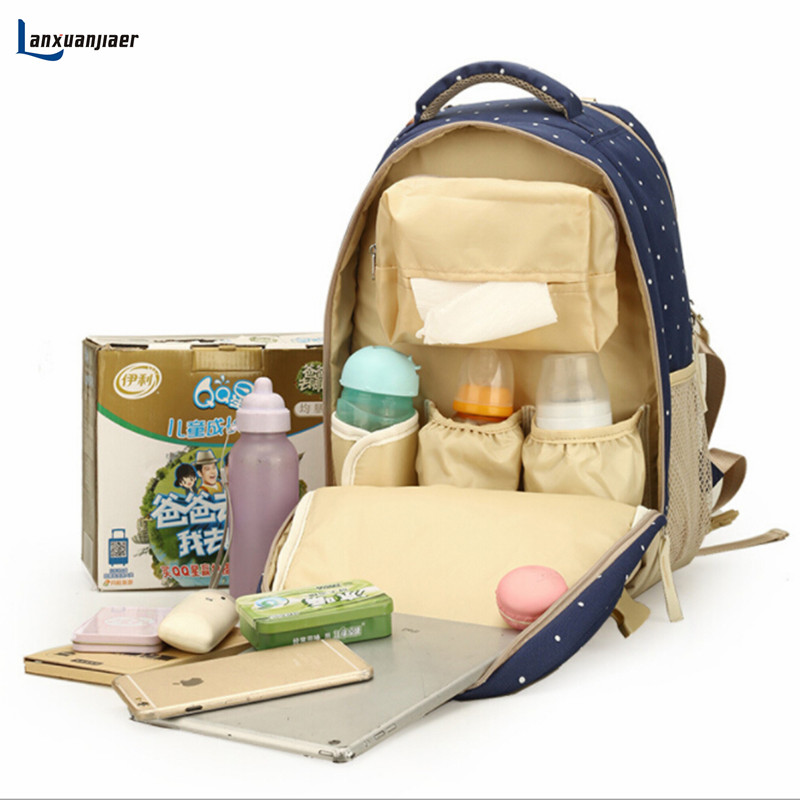 Lanxuanjiaer Baby Diaper Bag Backpack Nappy Changing Bags Travel Mother Maternity handbag stroller bag baby organizer mochila ma romanson romanson tm 4259 lc wh
