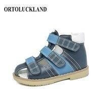 Ortoluckland Boys 정품 가죽 신발 어린이를위한 정형 외과 신발 네이비 블루 키즈 아치 지원 솔이있는 발가락 샌들