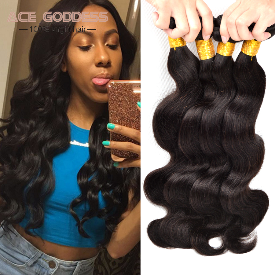 "7A Unprocessed Virgin Hair Peruvian Body Wave 4 Bundles Peruvian Virgin Hair Body Wave Human Hair Bundles 6""-28"" Peruvian Hair"