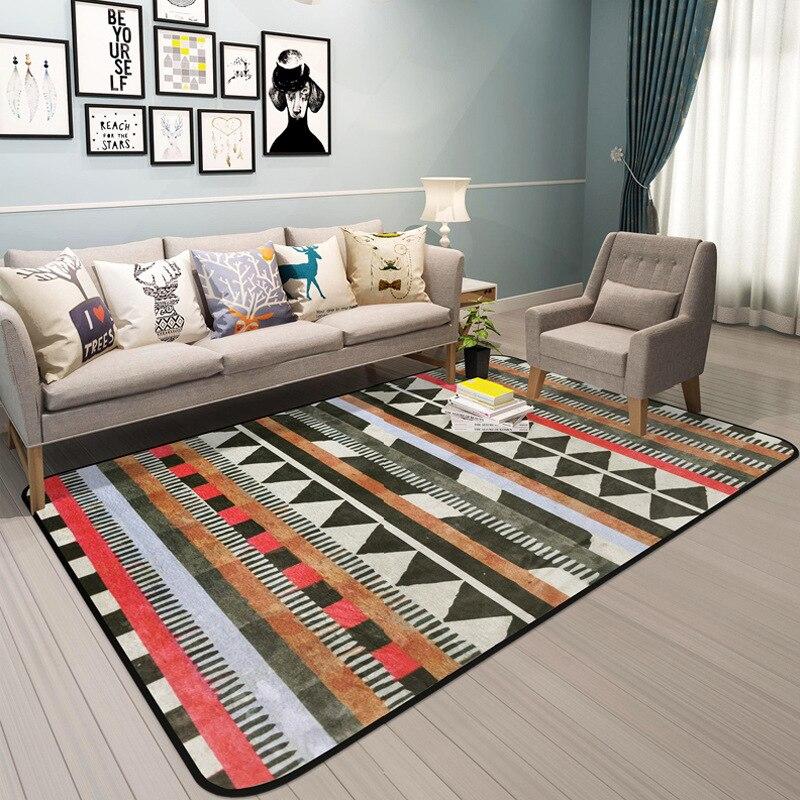 Géométrique imprimé Rectangles tapis tapis doux épaissir bohème tapis de sol salon chambre antidérapant Absorption d'eau paillasson