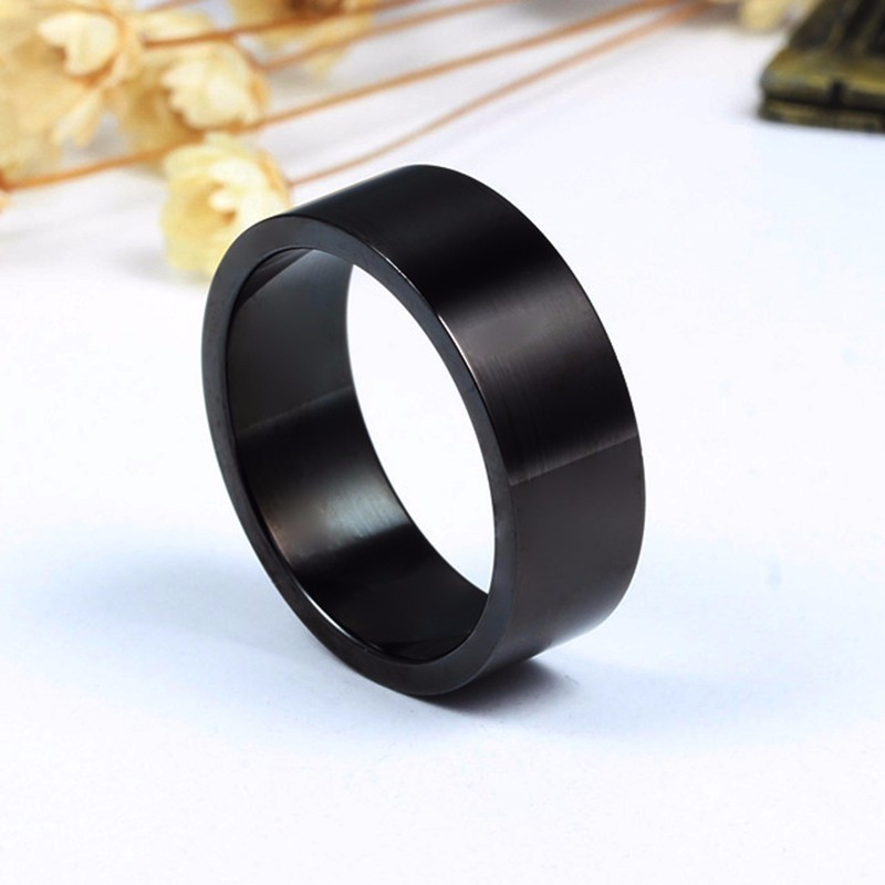 Vnox Stylish Wedding Bands for Couples Black Stainless Steel Rings for Women Men Boy Girl Party Accessories 5