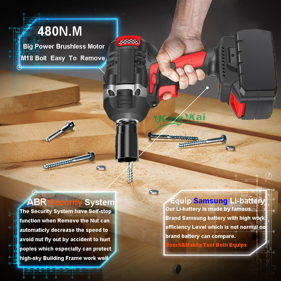 480NM Electric Cordless Lithium Battery Brushless Motor Impact Wrench-0 (17)