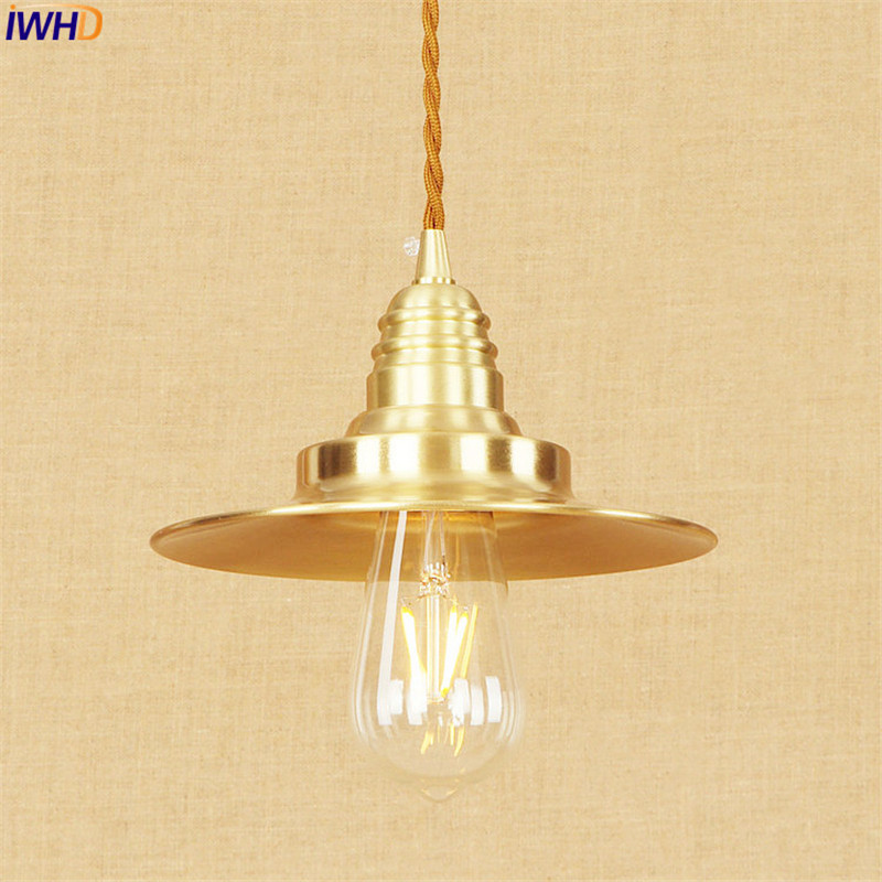 Nordic Copper LED Pendant Lamp Bedroom Dinning Room Lampen Retro Vintage Light Hanglamp Edison Style Lighting Luminaire