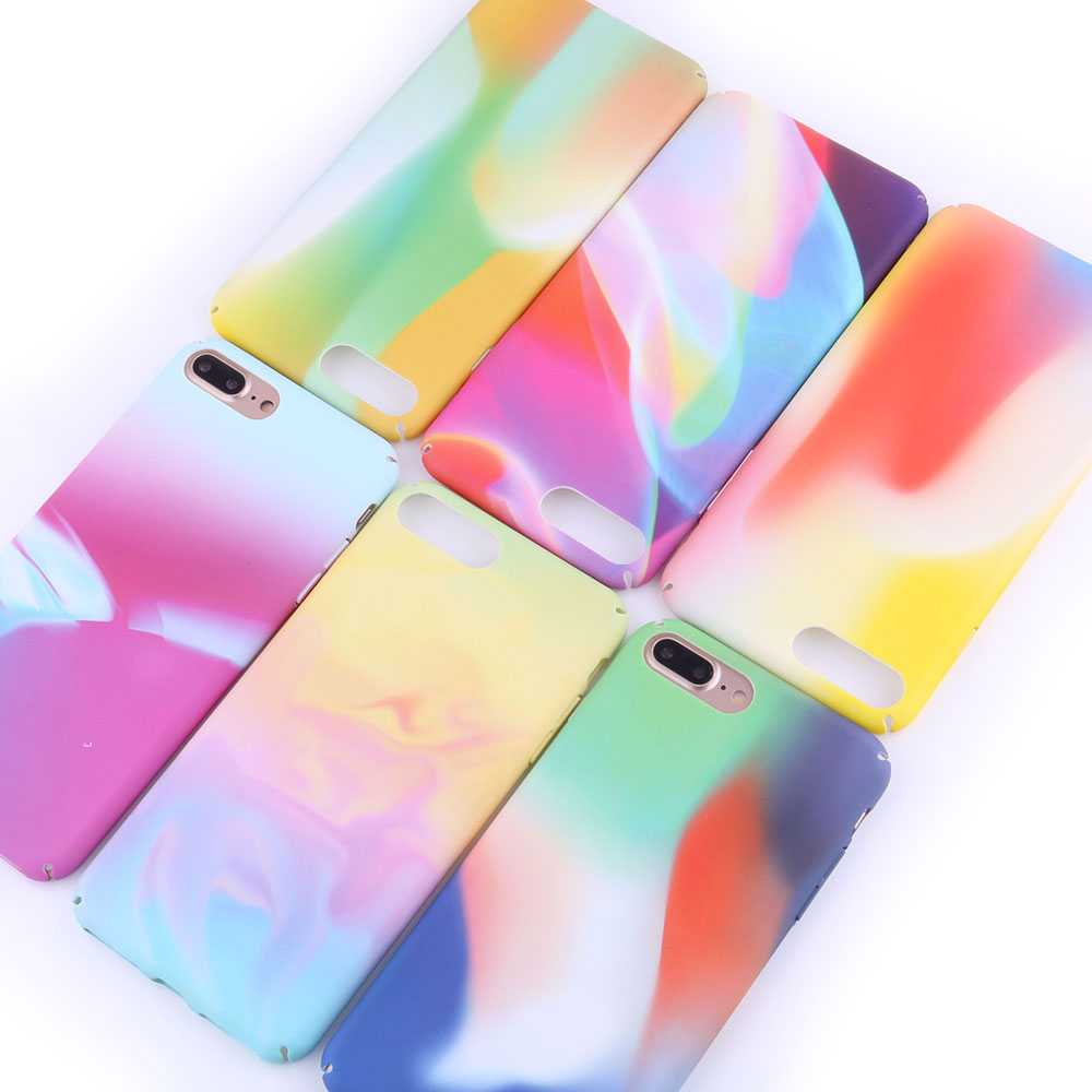 Boucho Colourful Matte phone case For iphone 6 6s 7 8 Plus Rainbow Colour Cases Back Cover For iphone X Hard Plastic Capa Coque