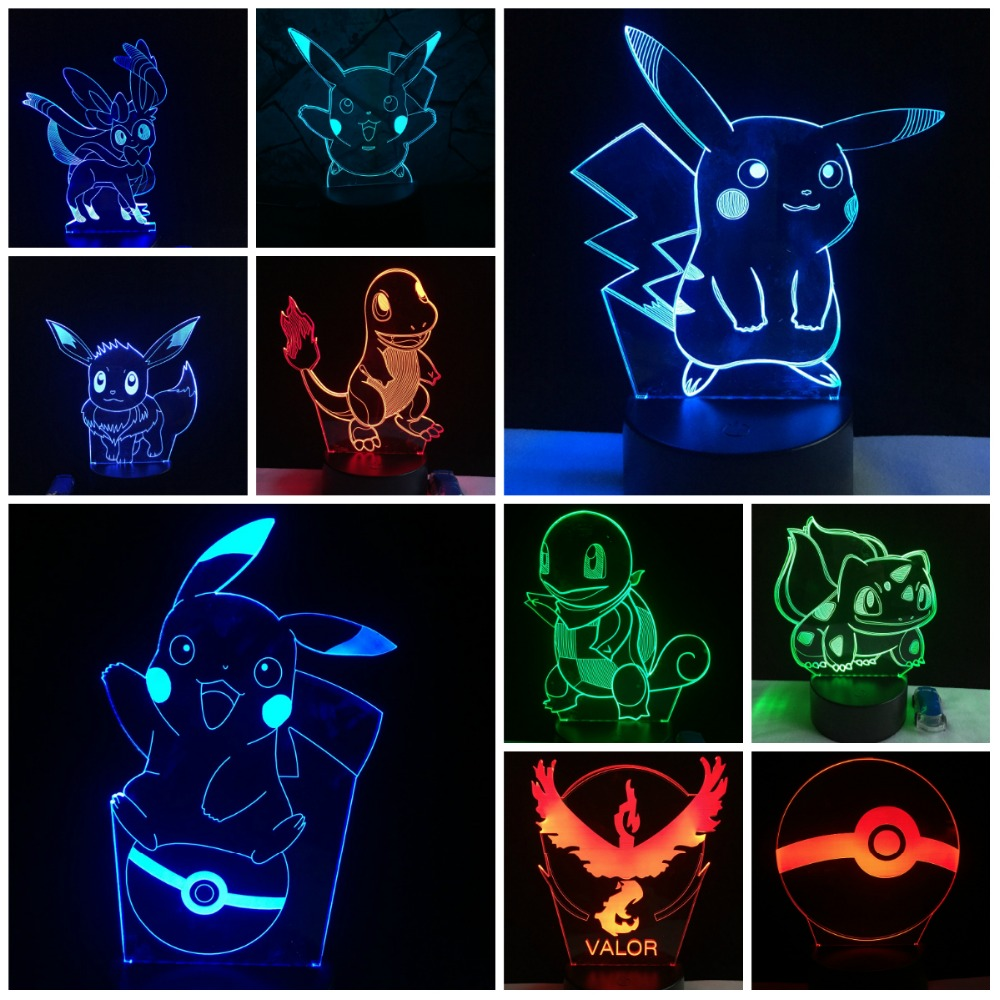 3D Lamp Pokemon Game Cartoon Japanese Pikachu Bulbasaur Eeven LED Atmosphere Decorative Night Light USB Lighting Cable Kids Toy3D Lamp Pokemon Game Cartoon Japanese Pikachu Bulbasaur Eeven LED Atmosphere Decorative Night Light USB Lighting Cable Kids Toy