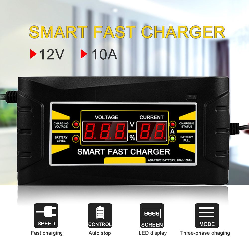 Full Automatic Smart 12V 10A Lead Acid/GEL Battery Charger w/ LCD Display US Plug Smart Fast Battery Charger Auto Accessories portable us plug battery charger w female usb output for sony xperia zr m36h c5502 ba950
