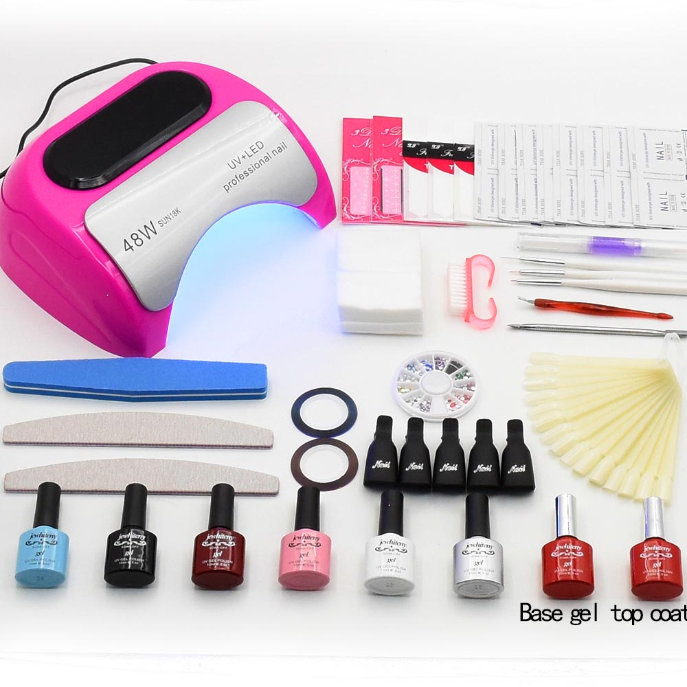Lamp for Nails Manicure Set Kit 6 Colors Nail Gel Polish Manicure Tools 48W UV LED Lamp Gel Nail Set Kit Nail Art Tools peach pinkholographic glitter starry galaxy chameleon colors changes for gel nails polish mood changing french uv led 7003l