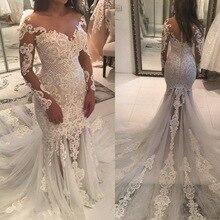 lakshmigown Vintage Mermaid Wedding Dresses Long Sleeve