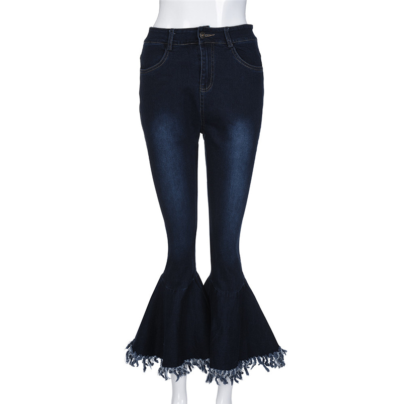 Fashion Women Hight Waisted Skinny Hole Denim Jeans Flare Pants Stretch Slim Pants Bell-bottoms Casual Jean Lady Jeans #K29 (6)