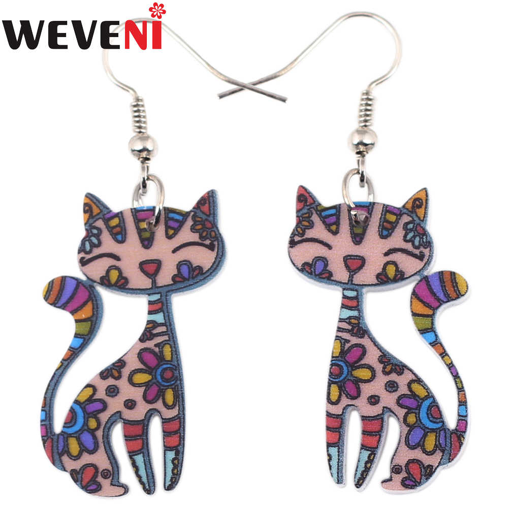 WEVENI Lightweight Drop Dangle Big Long Smile Cat Kitten Earrings For Women New Fashion Accessories Acrylic Printing Jewelry