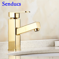 Free Shipping Fashion Gold Pull Out Basin Faucet With Single Handle Golden Bathroom Basin Sink Faucet