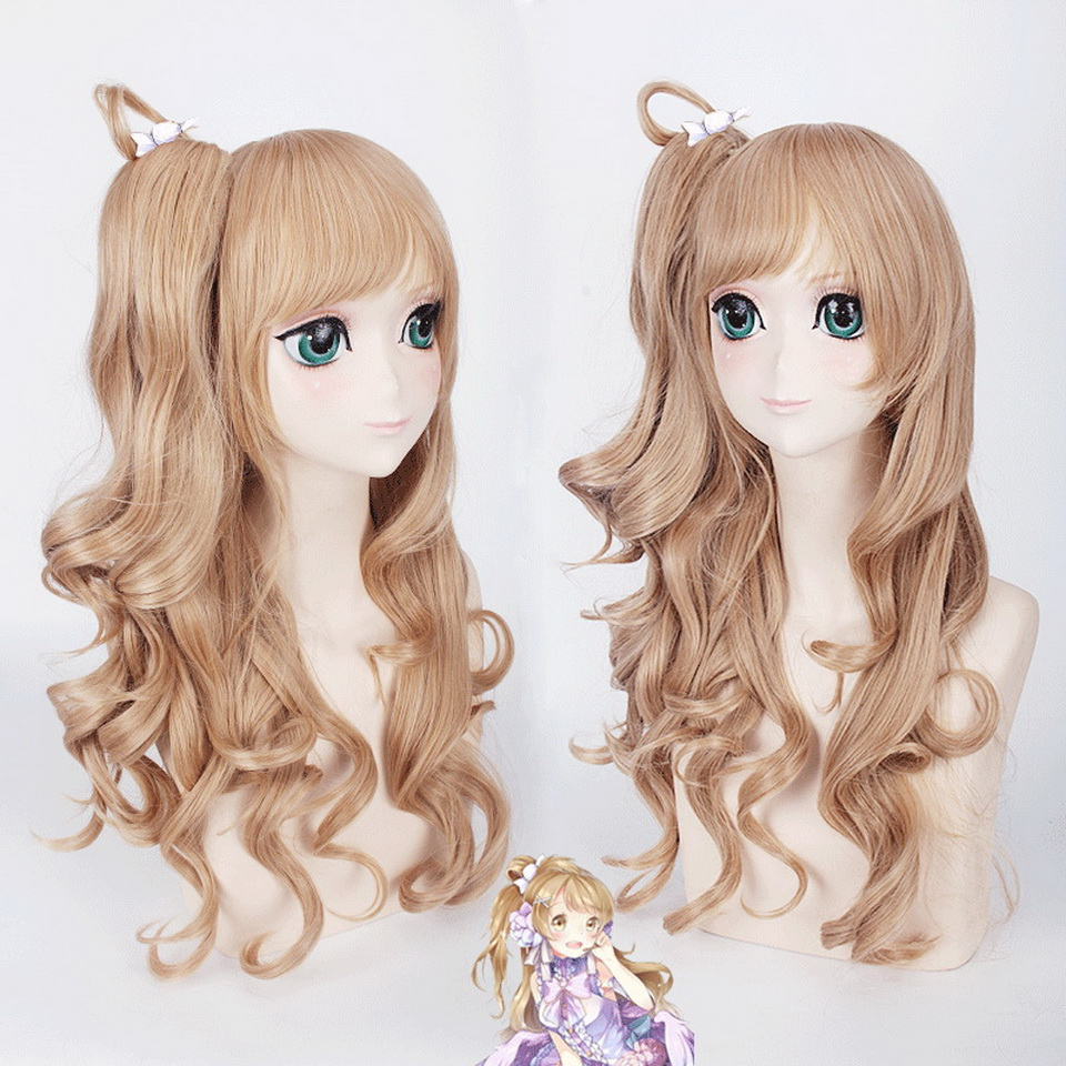 60cm Love live Kotori Minami Ash Blonde Cosplay Wig Anime Synthetic Women Long Wavy Halloween Costume Hair With Claw Ponytail