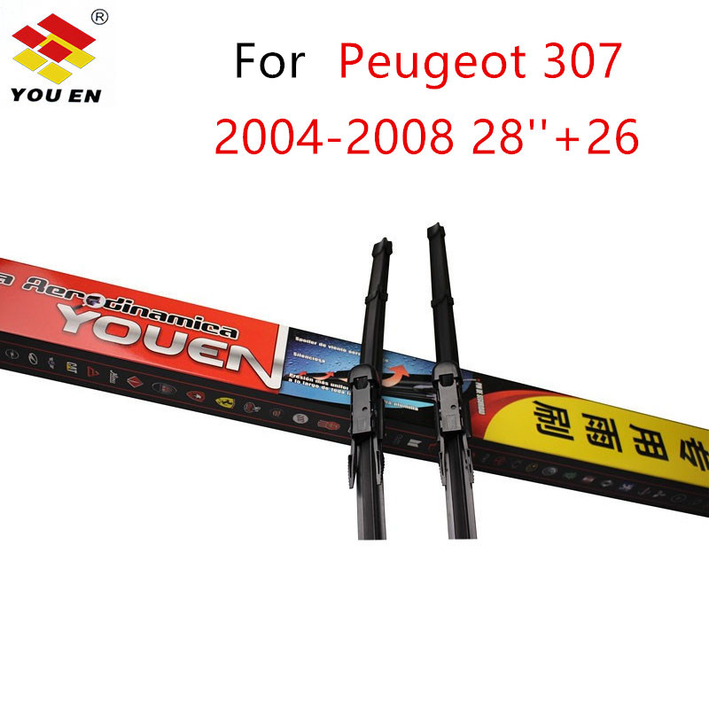 YOUEN 1 Pair Car Wiper Blade For Peugeot 307 2004 2005 2006 2007 2008 2826 Windscreen Wiper Blades Car Accessories Styling вытяжка каминная gorenje wht661s2x