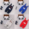 Cute Panda 2PCS Newborn Kids Baby Boy Girls Clothes Striped T-shirt Tops + Pants Overalls Baby Clothing Set Outfits 0-24 Months