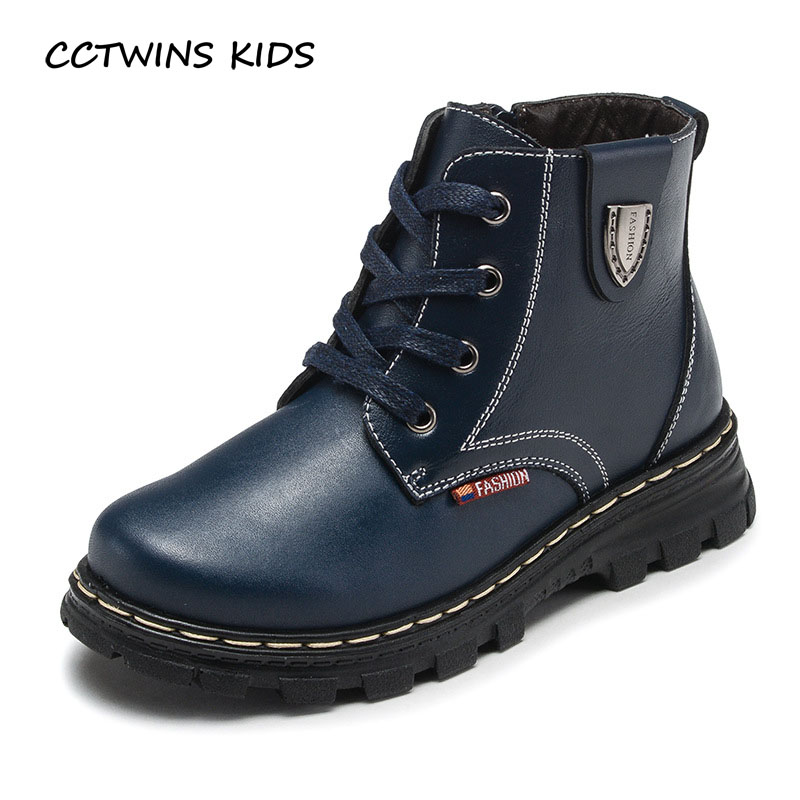 CCTWINS KIDS 2017 Children Genuine Leather Martin Boot Toddler Boy Fashion Black Shoe Kid Baby All-Match Lace-Up Boots C1181
