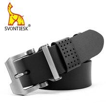 SVONTIESK SF003 NEW Cowhide Genuine Leather Belts for Men Brand Strap Male Pin Buckle Fancy Vintage
