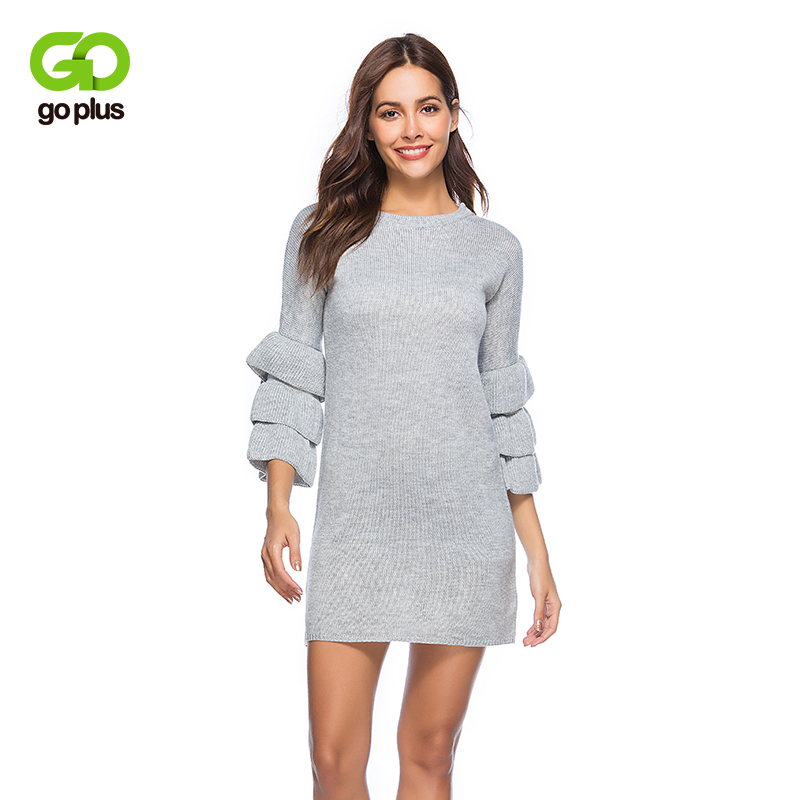 GOPLUS Butterfly Knitted long Sweater Dress Women 2018 Spring O-Neck Sleeve sexy Slim Bodycon Dress Female party Dress Pullove iadoaixnal knitted patchwork floral print belt slim full sleeve women dress summer o neck asymmetrical vintage female long dress