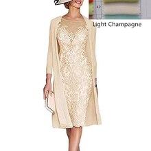2daf835dd9 Elegancki 2019 sukienki dla matki panny młodej płaszcza suknia 3 4 rękawy  kolano długość koronki