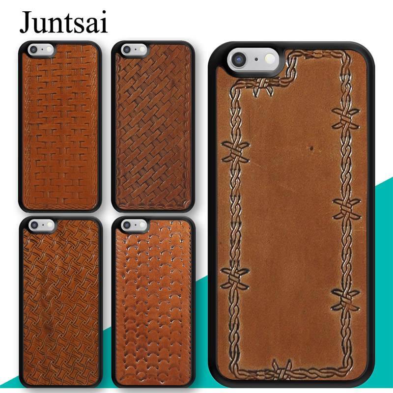 online store ceda8 45add US $2.95 5% OFF|Juntsai BROWN LEATHER HAND TOOLED WESTERN Phone Case For  Apple iPhone X XR XS MAX 6S 6 7 8 Plus 5S SE Cover Rubber Coque Shell-in ...