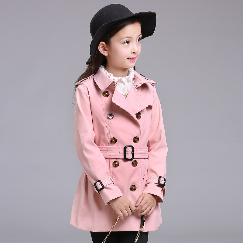 BRAND Girls Windbreaker Autumn\winter Long Slim Coat Turn Down Collar with Belt Classic England Style High Quality 6y-12y girls windbreaker autumn winter kids cotton coat children khaki double breasted long clothing england style for 4y 12y page 2