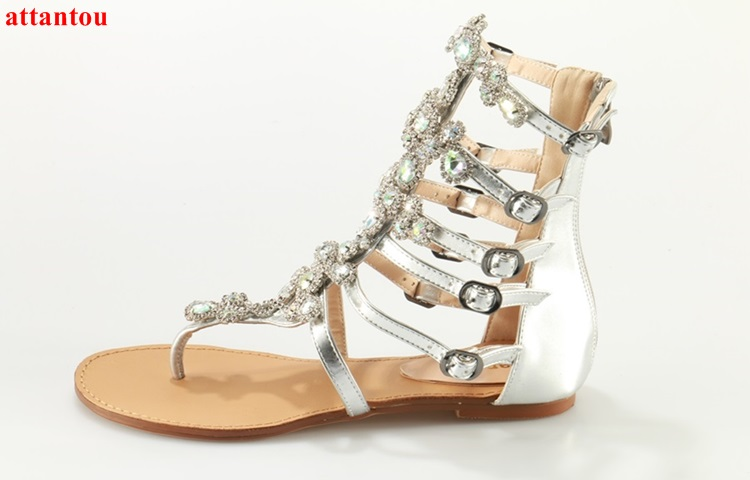 2017 Summer hot sale silver sandals falt shoes bling bling rhinestone design woman gladiator sandals female dress shoes phyanic 2017 gladiator sandals gold silver shoes woman summer platform wedges glitters creepers casual women shoes phy3323