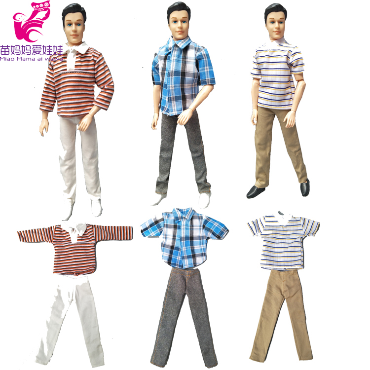 Suit Outfit Casual Wear shirt Clothes and pants for barbie doll boy firend for doll ken clothes nk one set casual wear t shirt trousers summer outfit short pants ken clothes for barbie ken doll accessories wholesale