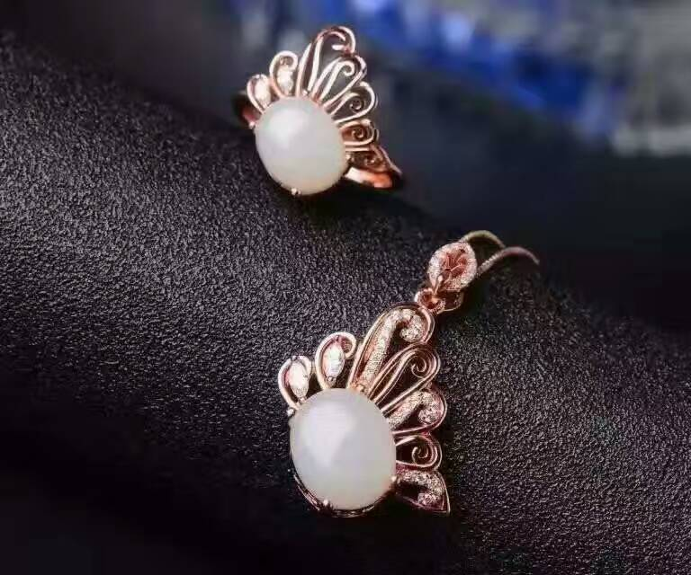 Natural white jade gem jewelry sets natural gemstone ring Pendant ring 925 silver Stylish butterfly women party fine jewelry