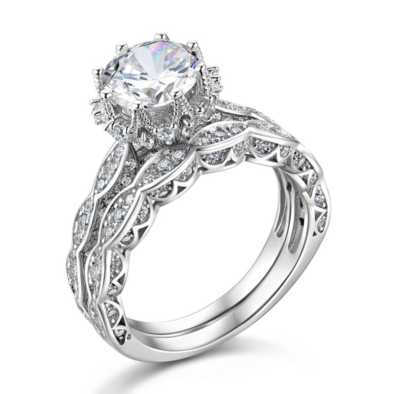1.8 Ct Round Cut AAA CZ Genuine 925 Sterling Silver Vintage Wedding Ring Set
