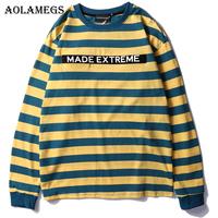 Aolamegs Men T Shirt Multi Striped Printed Men's Tee Shirts O neck T Shirt Fashion High Street Hip Hop Tees Streetwear Summer