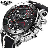 LIGE New Sports Mens Watches Top Brand Luxury Large Dial Military Army Quartz Watch Fashion Casual Waterproof Business Watch Men