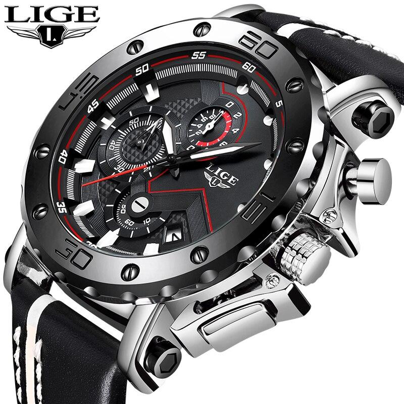LIGE Novo Sports Mens Relógios Top Marca de Luxo Grande Mostrador do Relógio Do Exército Militar de Quartzo Relógio De Negócios Homens Moda Casual À Prova D' Água