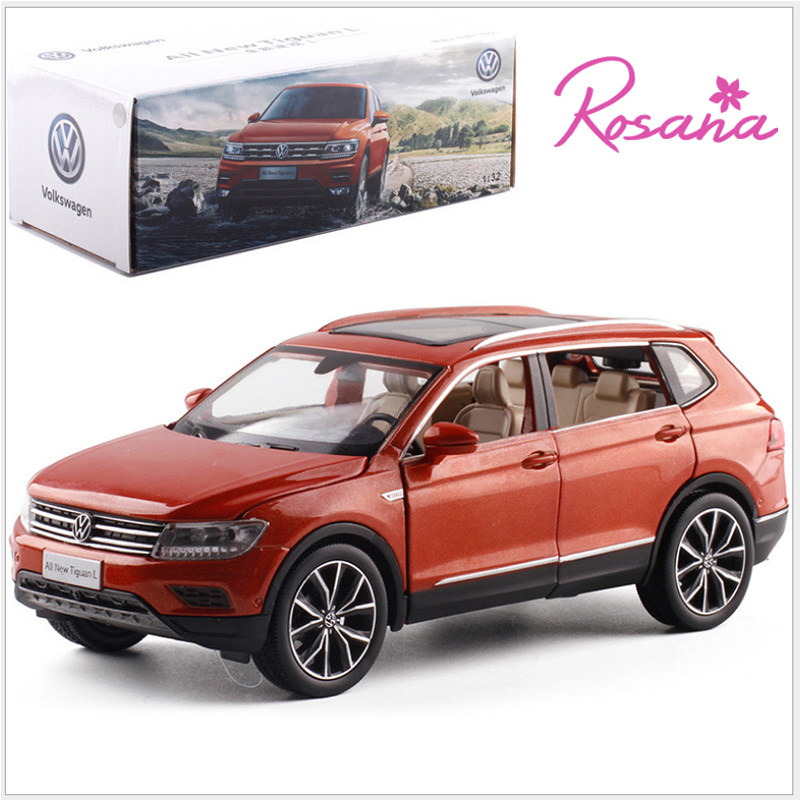 1/32 VW Volkswagen Tiguan L SUV Alloy Sound and Light Pull Back Car Model 6 Doors Can Open Car Toy Model For Kids Birthday Gifts