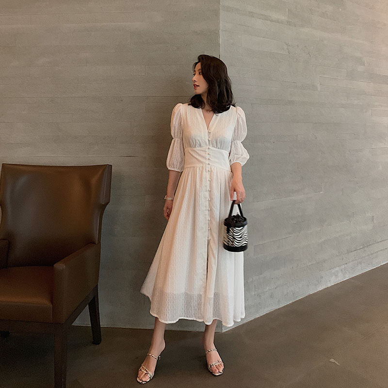Vintage French Elegant Dress Women Summer Cotton Puff Sleeve Solid White Midi Wrap Dresses Female Party