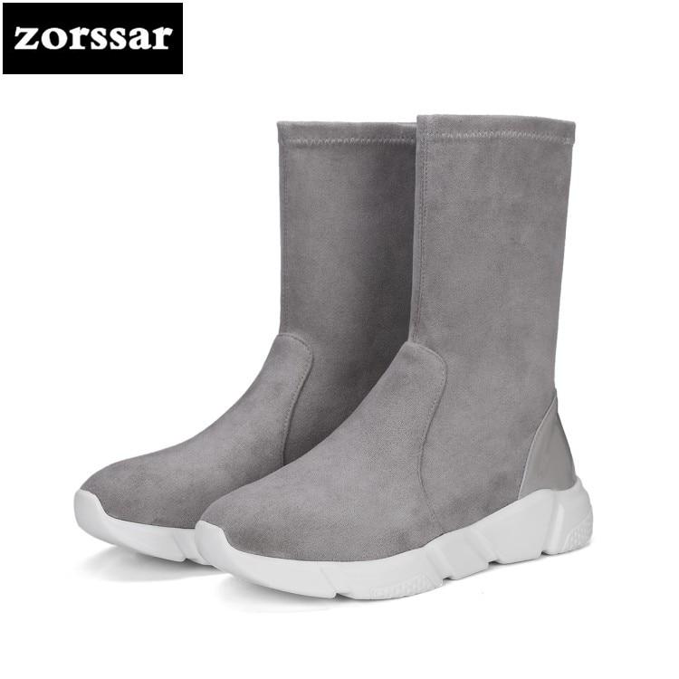 Flache {zorssar} Leder Kn Elastische Schuhe Frau chel 2018 Flock Winter SchwarzGrau Warme Schneeschuhe Neue Ankunft Frauen Komfort UqzMVpGS