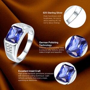 Image 5 - J.C Women Men Vintage Design Luxury Blue Sapphire & Tanzanite & White Topaz 925 Sterling Silver Ring Size 7 8 9 10 Fine Jewelry
