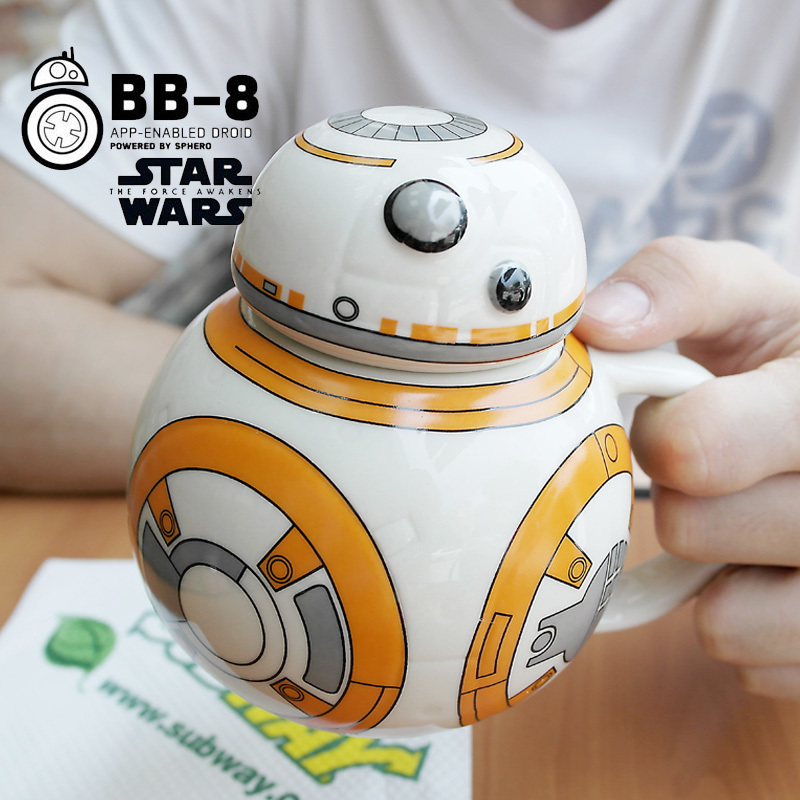 3D Stereo Star Wars Creative Anime Cartoon Shape Bb8 Robot Coffee Cup Porcelain Cup With Cover High Capacity Mug Boyfriend Gift in Mugs from Home Garden