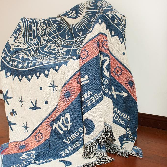Vintage Woven Soft Ramie Cotton Fabric Sofa Blankets Muti