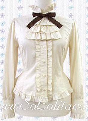 Lolita Special Bow Ruffled Tie Pleated Border Cotton Blouse