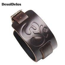 2019 Male Punk Eagle Leather Bracelet Men Vintage Rock Style Black Brown Imprint Wide Bracelets Bangles Jewelry Gift