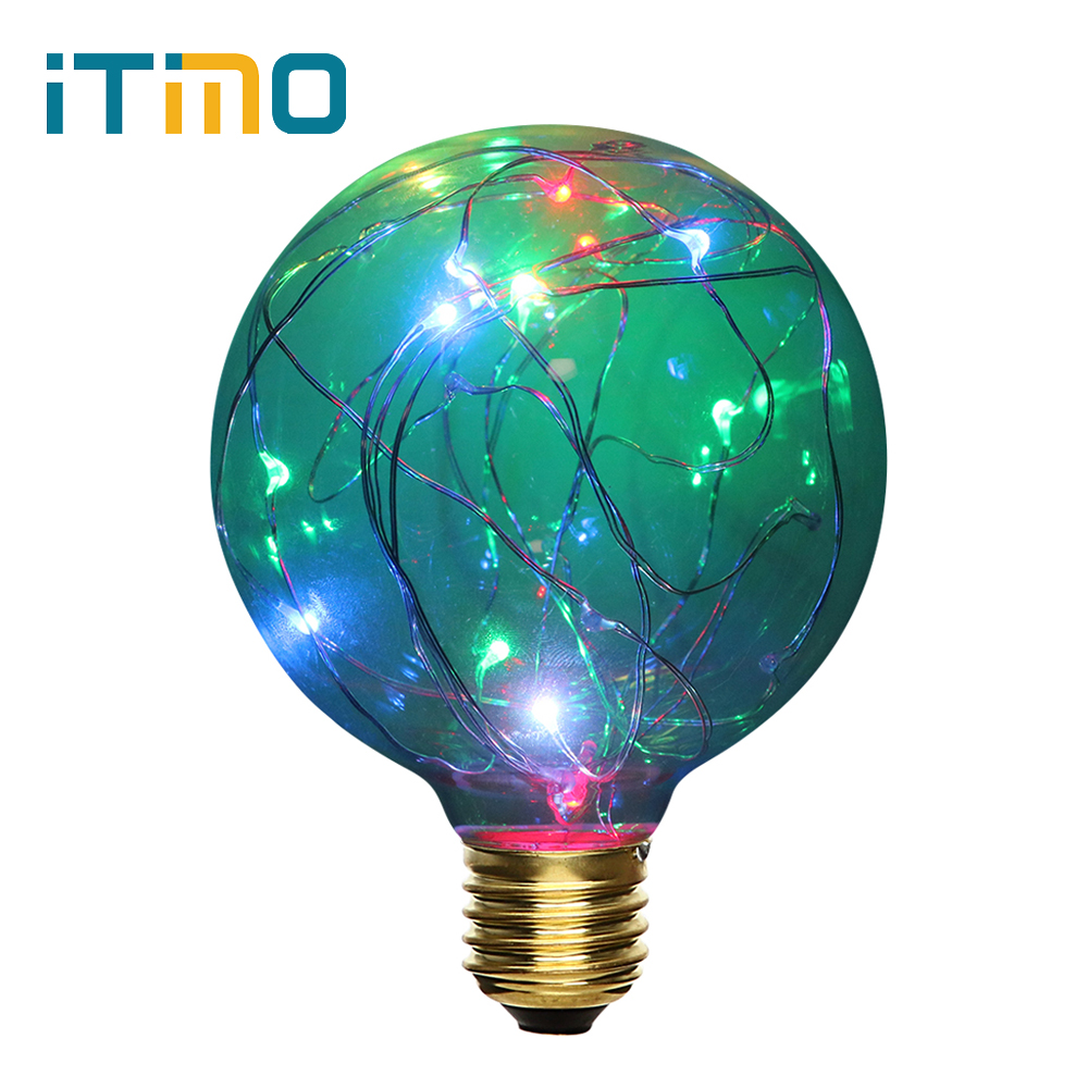 RGB Vintage Lamp Home Lighting Filament Light For Decor Christmas Holiday Wedding Lighting AC 110V-240V 3W LED Bulbs E27