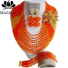 2017 Fashion african beads jewelry set orange Nigeria Wedding Crystal necklace Bridal Jewelry sets Free shipping VV-052(China)