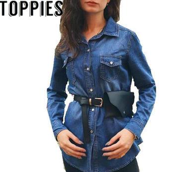 2019 Spring New Long Sleeves Women Denim Shirt Pearl Buttons Denim Blouse for Women Causal Shirts