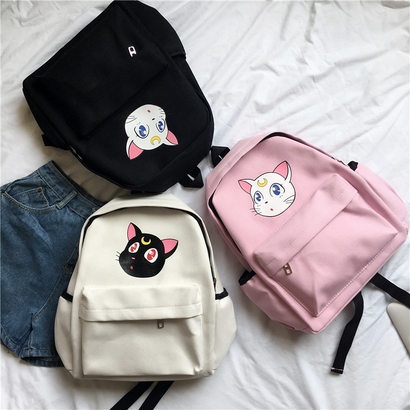 Japanese Cute Luna Cat Backpack Bag Anime Sailor Moon Sweet Girls Cosplay Gifts Pink Kawaii Canvas Backpacks School Bags