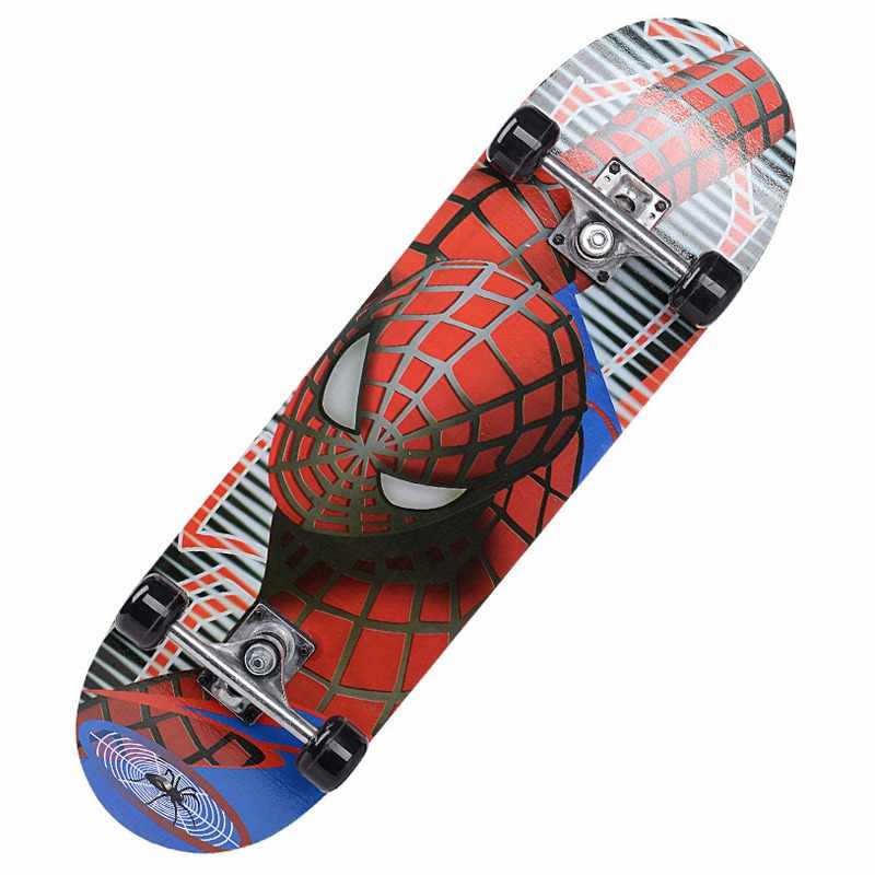 60*15cm Cartoon Childern Skateboard Spider man/Spongebob Longboard Marple Double Rocker For Child Skate Board Skateboarding