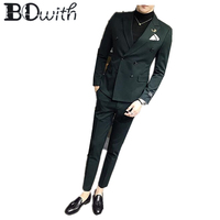 Double Breasted Wedding Men Suits Green Peaked Collar Slim Fit 3 Pieces Suits(Jacket+Pants+Vest) Men Suits Groom Tuxedos