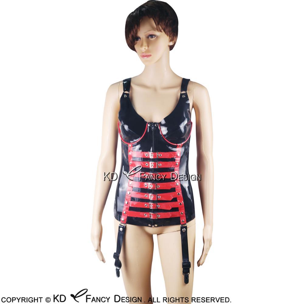 Noir avec garnitures rouges Corsets Sexy en Latex avec fermeture éclair laçage avant à l'arrière Bustiers en caoutchouc haut vêtements CY-0001