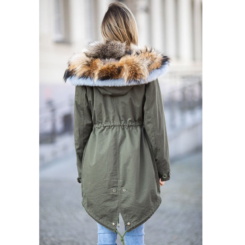 CKMORLS New Fashion Luxury Parkas With Real Fur Collar Thick Warm Coats White Fox Fur Jacket Casual Armygreen Outwear Plus Size in Real Fur from Women 39 s Clothing
