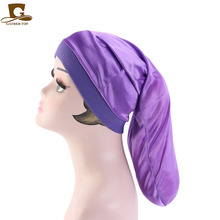 Hot sale Unisex Open wide elastic band Satin Pocket Bonnet silky dreadlock braids baggy cap Men Women Long Cylinder Sleeping Cap