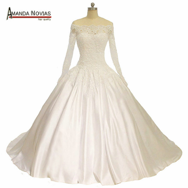 2016 Newest Model Sleeves Satin Wedding Dress Hot With Boat Neck