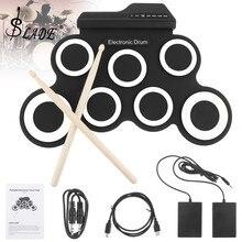 SLADE Портативный электронный цифровой USB 7 подушечек свернутый набор силиконовый Электрический барабанный комплект с барабанными палочками и поддерживающей педалью